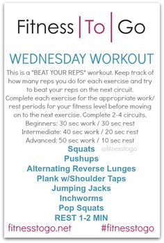 Wednesday Workout. Circuit Style HIIT Workout. Quick and effective equipment free strength and cardio workout that can easily be done at home or in the gym!