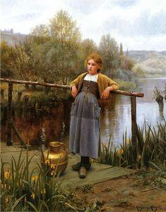 Daniel Ridgeway Knight - young girl by a stream