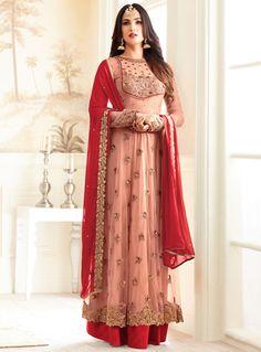 Sonal Chauhan Peach Net Long Anarkali Suit 97823