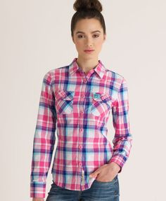 aa1f17d2ba5 Shop Superdry Womens Lumberjack Patch Shirt in Warner Pink. Buy now with  free delivery from the Official Superdry Store.