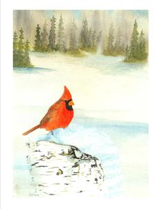 Cardinal in the dead of winter Art Watercolor Painting - 8x10 Signed Fine Art Print on Etsy, 11,30 €