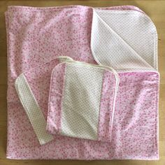 Pink flannel baby blanket and burp cloth set