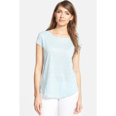 Nordstrom Collection Cap Sleeve Linen Tee ($40) ❤ liked on Polyvore featuring tops, t-shirts, blue sterling, curved hem tee, linen tops, boat neck t shirt, linen t shirt and boat neck tops