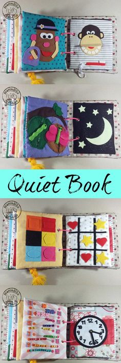 Sensory quiet book, personalized and made by hand 100% with fabric and felt. #quietbook #handmade #gift #ad