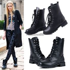 50b1cba955b525 Coole Damen Black Army Military PUNK Lace-up Martin Short Boots Schuhe Neur