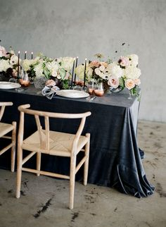 La Tavola Fine Linen Rental: Velvet Charcoal  with Tuscany Silver Napkins | Photography: Kristen Beinke Photography, Planning & Design: Jill & Co Events, Florals: Camellia Floral Design, Venue: FD Photo Studio, Rentals: The Ark Rentals, Stationery: Lazaro Press