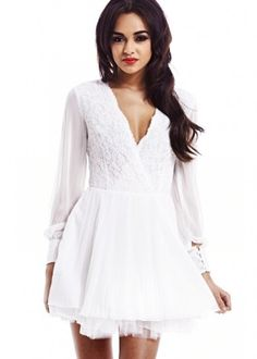 V FRONT LACE DRESS | ModMint -Fashionable young women's clothing