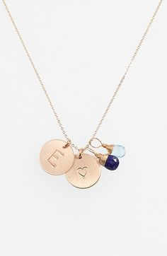 Nashelle Blue Quartz Initial & Heart 14k Gold Fill Disc Necklace available at #Nordstrom