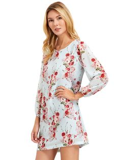 Shop Ligh Blue Lantern Sleeve Floral Shift Dress online. SheIn offers Ligh Blue Lantern Sleeve Floral Shift Dress & more to fit your fashionable needs.