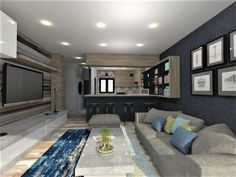 3D Rendering of Apartment Renovation by bevel.co.za Interior Rendering, 3d Rendering, Interior Design, Apartment Renovation, Conference Room, Table, Furniture, Home Decor, Design Interiors