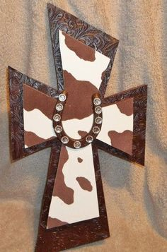Western Horseshoe Cowhide Cross. $25.00, via Etsy.