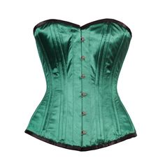 Green Elegant Satin Overbust Corset with Contrast Binding This plain green training corset is constructed to the highest quality, and is suitable for people who are thinking about long term corset training. Spiral steel bones assure comfort and support. 20 Spiral Steel Bone, 4 Flat Steel Bone Front Length: 14.5 inch (36.8 cm) Side Length: 12.5 inch (31.75 cm) Back Length: 13.0 inch (33.02 cm)