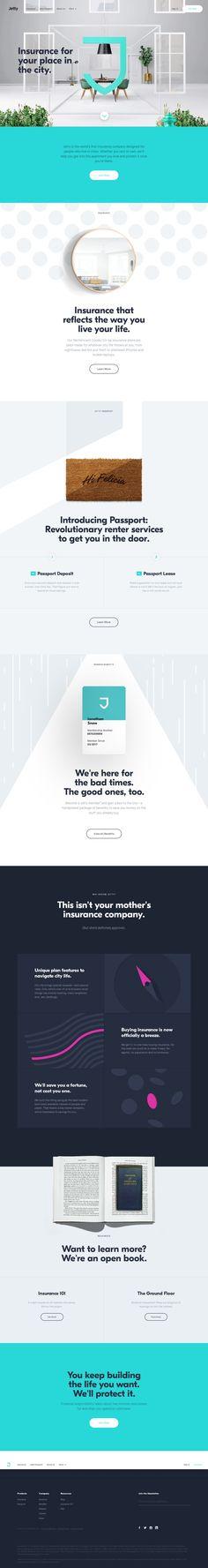 Jetty - Home  memo:ページを大きく使う感じと少しビビッドな色合い。フォントの強弱もついていてシンプルで見やすい