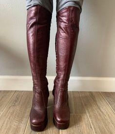 Vintage oxblood leather platform over-the-knee zip-up Chain Crossbody Bag, Oxblood, Sky High, Quilted Leather, Over The Knee Boots, Fashion Boots, Riding Boots, 1970s, Heeled Boots