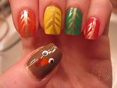 Thanksgiving nail art (That's if you're American of course!) {if you're not, then it could just be a cute turkey!}