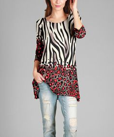 ad5d644e0fa Black   Red Animal Print Three Quarter-Sleeve Tunic - Plus Too