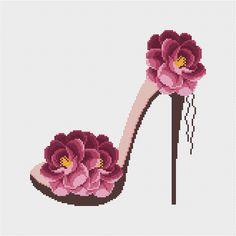 Shoe modern cross stitch pattern Floral counted cross stitch chart Hoop art Embroidery shoe Flower r Modern Cross Stitch Patterns, Counted Cross Stitch Patterns, Cross Stitch Charts, Cross Stitch Designs, Cross Stitch Embroidery, Embroidery Patterns, Hand Embroidery, Modern Embroidery, Simple Cross Stitch