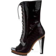 Pre-owned Rodarte Embossed Lace-Up Boots ($445) ❤ liked on Polyvore featuring shoes, boots, ankle booties, black, peep toe bootie, black laced booties, leather ankle boots, lace-up bootie and black lace up boots