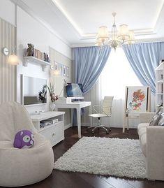 Детская комната в светлых тонах и с рабочим пространством. Нравится идея - ставь