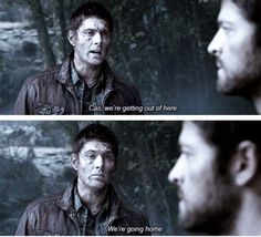 [SET OF GIFS] 8x02 What's Up, Tiger Mommy?- I live for this Purgatory scene. Just the fact that Dean wants Cas to come home with him. Yeah, that's being topside and what not, but if it panned out that Cas made it out with him then Dean would've dragged him to Benny's body...did whatever and had Cas there every step of the way, until finally they get to their safe place (cabin), then later the bunker. He just wanted Cas at home and that means by his side.
