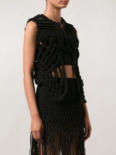 Comme Des Garçons Noir Kei Ninomiya Braided Open Knit Waistcoat - Kasuri - Farfetch.com