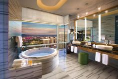 We don't do average in Las Vegas. We specialize in crazy. So when we get around to that most basic amenity - the bathroom - you know it's going to be over the top. From marble palaces for your throne to a loo with a view we've got them all.