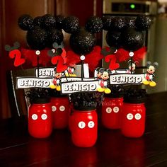 mickey mouse birthday party ideas Mickey Mouse Table Centerpieces Hand made of Mason Jars Mickey Mouse Theme Birthday Party Mickey Mouse Birthday Decorations, Mickey Mouse Theme Party, Mickey 1st Birthdays, Mickey Mouse Centerpiece, Mickey Mouse First Birthday, Mickey Mouse Clubhouse Birthday Party, 2nd Birthday, Mickey Birthday Cakes, Birthday Ideas