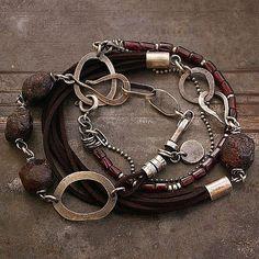burgundy set of bracelets garnet sterling by ewalompe, $149.00