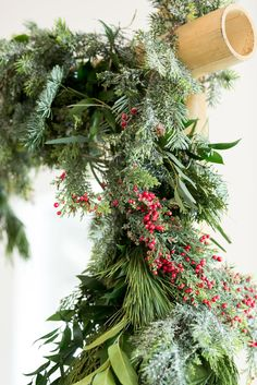 Unique established wedding centerpiece inspo check out the post right here Wedding Ceremony Arch, Garland Wedding, Wedding Ceremony Decorations, Wedding Centerpieces, Wedding Ceremonies, Wedding Tables, Christmas Wedding Flowers, Evergreen Wedding, Wedding Greenery