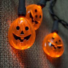 Cute jack-o-lantern Halloween lights. #stringlights #halloweenlights http://www.lightsforalloccasions.com/p-4822-halloween-string-lights-20-led-lit-pumpkins-6-ft-black-wire-plug-in.aspx