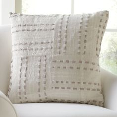 Gladys Pillow Cover | Dotted lines form a simple basket weave pattern on this cotton pillow cover.