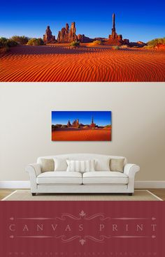 Canvas print of the classic Totem Pole view in the Monument Valley, Arizona. The ripple on the sand dunes created by the wind accentuates this beautiful landscape. #homedecor #wallart #walldecor #canvasprint #landscapephotography