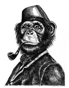 1000 images about Smoking Monkeys & Other Oddities on . Monkey See Monkey Do, Monkey Art, Monkey Illustration, Monkey Tattoos, Tatuagem Old School, Face Sketch, Picture Logo, Animal Sketches, Arte Pop