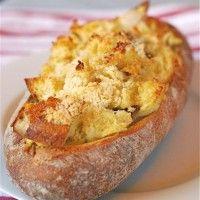 An easy recipe for eggs baked in ciabatta bread for breakfast.