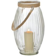 Clear Oval Lantern with Rope Handle (£11) ❤ liked on Polyvore featuring home, home decor, candles & candleholders, glass candle, round lanterns, round candles, glass lantern and glass home decor