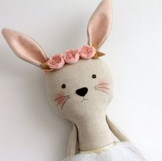 MADE TO ORDER  Pink & Gold bunny with a headband. Stuffed by blita