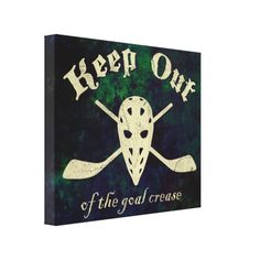 Keep Out Of The Goal Crease, ice hockey canvas print art. The design is also available on t-shirts, hoodies etc.