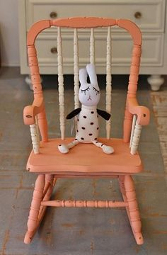 Chalk paint gives a great look to furniture. Check out this chalk painted coral rocking chair, before  after.