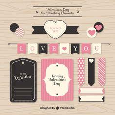 Elementos scrapbooking Valentine Vetor grátis
