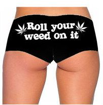 Roll Your Weed On It Panties [Black & White]