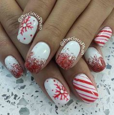 Red-Glitters-And-Snowflakes-Christmas-Nails Festive Christmas Nail Art Ideas Christmas Gel Nails, Holiday Nail Art, Christmas Nail Art Designs, Christmas Glitter, Christmas Candy, Christmas Holiday, Christmas Ideas, Christmas Wreaths, Christmas Ornaments