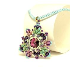 """Beaded Pendant Tutorial """"Intersections"""" with Swarovski and Superduo"""