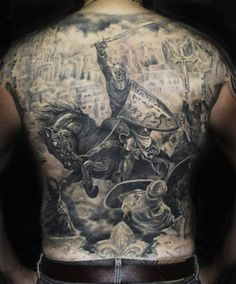 What does knight tattoo mean? We have knight tattoo ideas, designs, symbolism and we explain the meaning behind the tattoo. Cool Back Tattoos, Back Tattoos For Guys, Amazing Tattoos, Medieval Tattoo, Backpiece Tattoo, Tattoo Ink, Gray Tattoo, Laser Tattoo, Knight Tattoo