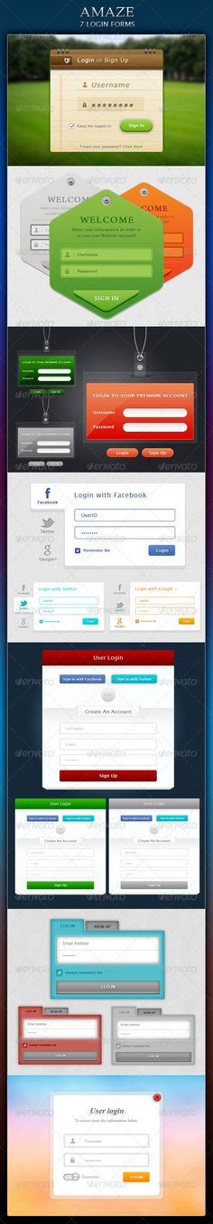 A pack of 7 amaze login forms.  - Perfect organized PSDs. - Each and every layer have appropriate name. - 100% editable photoshop vector shapes. - Uses free available fonts. - Fit in grid view. - Easy to change the color. - Already made it in three diffrent colors.