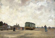 Floris Arntzenius (1864-1925) - A windy day on the beach of Scheveningen