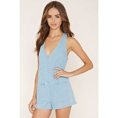Forever 21 Women's  Deep V-Neck Denim Romper ($28) ❤ liked on Polyvore featuring jumpsuits, rompers, playsuit romper, sleeveless romper, denim romper, forever 21 romper and forever 21 rompers
