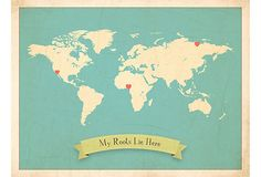 My Roots Map by Rebecca Peragine: Personalize this with your child by placing the heart stickers where your roots lie. #Map  #Roots #Kids #Rebecca_Peragine