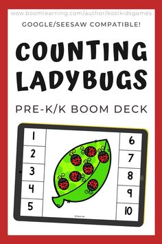 Kids will count the number of ladybugs on the leaf from 1-10. Use these task cards as a fun center to improve math skills in preschool and kindergarten. This digital resource is compatible with google classroom and seesaw and perfect for distance or homeschooling.  #digital #boom #task cards #math #count #number #pre-k #preschool #kindergarten #bug #insect #ladybug #spring #summer #nature #leaf #plant #lifecycle Circle Time Games, Bug Insect, Seesaw, Preschool Kindergarten, Math Skills, Google Classroom, Life Cycles, Business For Kids, Educational Activities
