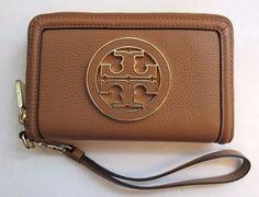 TORY BURCH Amanda SMARTPHONE WRISTLET/Wallet ~ ROYAL TAN Brown Leather ~New/NWT #ToryBurch #Wristlet