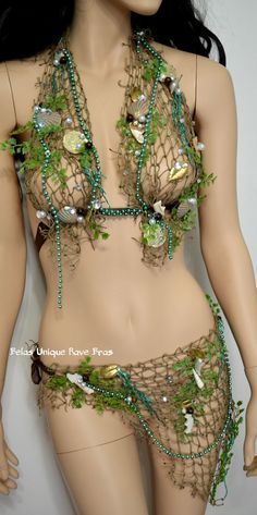 Sirens Of The Sea Mint Green Netted Siren Mermaid Halter Bra Top with Skirt Cosplay Dance Costume Rave Halloween #Costumes